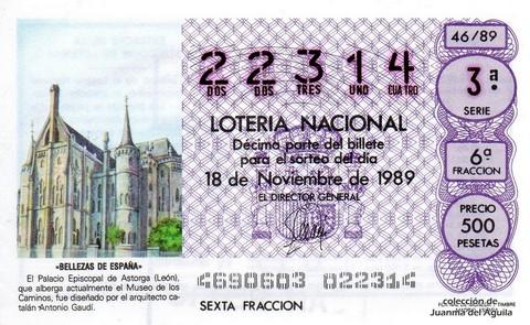 Décimo de Lotería Nacional de 1989 Sorteo 46 - «BELLEZAS DE ESPAÑA» - PALACIO EPISCOPAL DE ASTORGA (LEON)