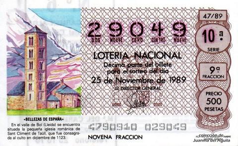 Décimo de Lotería Nacional de 1989 Sorteo 47 - «BELLEZAS DE ESPAÑA» - IGLESIA ROMANICA DE SANT CLIMENT DE TAÜLL (LLEIDA)