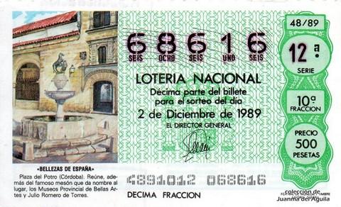 Décimo de Lotería Nacional de 1989 Sorteo 48 - «BELLEZAS DE ESPAÑA» - PLAZA DEL POTRO (CORDOBA)
