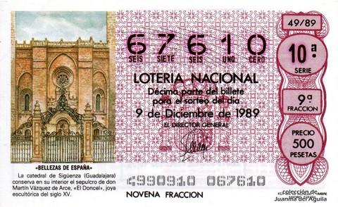 Décimo de Lotería Nacional de 1989 Sorteo 49 - «BELLEZAS DE ESPAÑA» - CATEDRAL DE SIGÜENZA (GUADALAJARA)