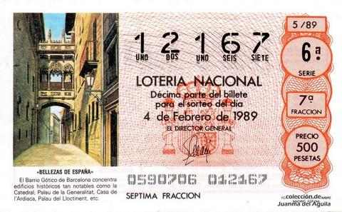 Décimo de Lotería Nacional de 1989 Sorteo 5 - «BELLEZAS DE ESPAÑA» - BARRIO GOTICO DE BARCELONA