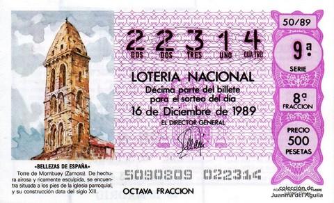 Décimo de Lotería Nacional de 1989 Sorteo 50 - «BELLEZAS DE ESPAÑA» - TORRE DE MOMBUEY (ZAMORA) S. XIII