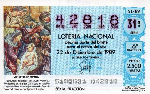 Décimo de Lotería Nacional de 1989 Sorteo 51 - «BELLEZAS DE ESPAÑA» - NATIVIDAD, REALIZADO POR JUAN MARTINEZ MONTAÑES (S. XVII)