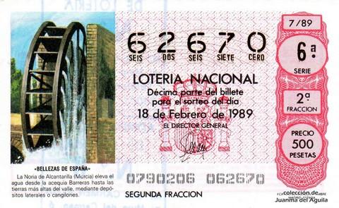 Décimo de Lotería Nacional de 1989 Sorteo 7 - «BELLEZAS DE ESPAÑA» - NORIA DE ALCANTARILLA (MURCIA)