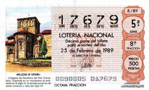 Décimo de Lotería Nacional de 1989 Sorteo 8 - «BELLEZAS DE ESPAÑA» - COLEGIATA DE SANTILLANA DEL MAR (CANTABRIA)
