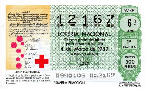 Décimo de Lotería Nacional de 1989 Sorteo 9 - «CRUZ ROJA ESPAÑOLA»