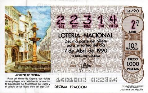 Décimo de Lotería 1990 / 14