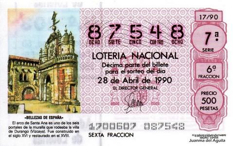 Décimo de Lotería 1990 / 17