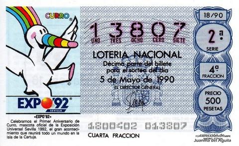 Décimo de Lotería 1990 / 18