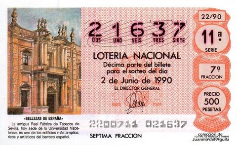 Décimo de Lotería 1990 / 22