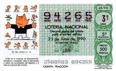 Décimo de Lotería 1990 / 25