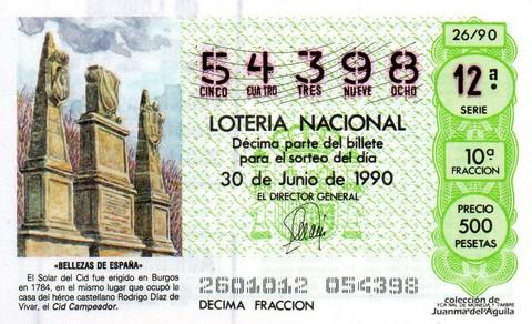 Décimo de Lotería 1990 / 26