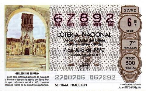 Décimo de Lotería 1990 / 27