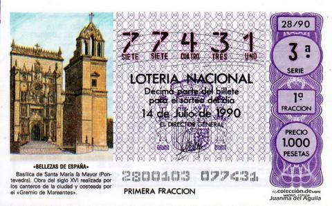 Décimo de Lotería 1990 / 28