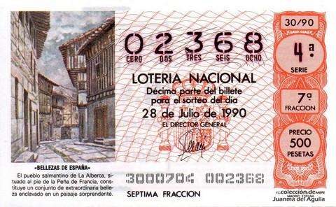 Décimo de Lotería 1990 / 30