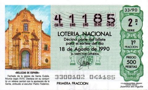 Décimo de Lotería 1990 / 33