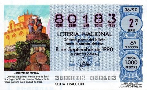 Décimo de Lotería 1990 / 36