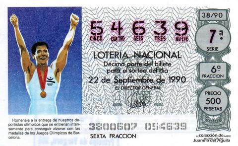 Décimo de Lotería 1990 / 38