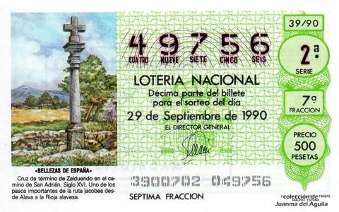 Décimo de Lotería 1990 / 39