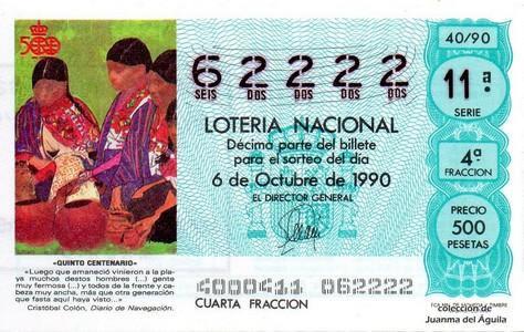 Décimo de Lotería 1990 / 40