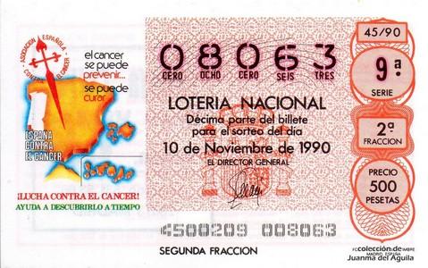 Décimo de Lotería 1990 / 45