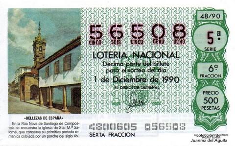 Décimo de Lotería 1990 / 48