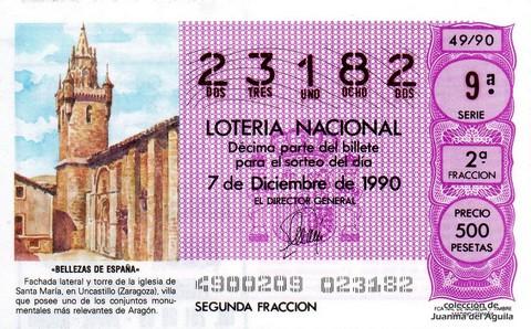 Décimo de Lotería 1990 / 49