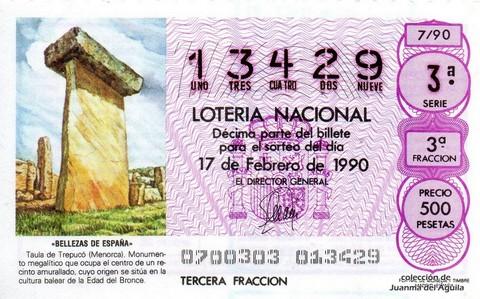 Décimo de Lotería 1990 / 7
