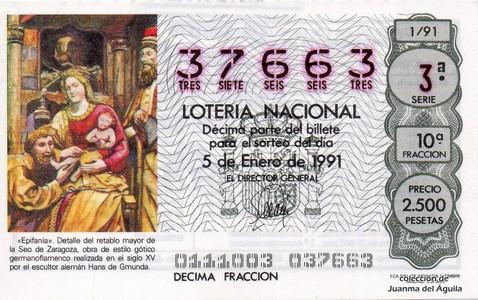 Décimo de Lotería Nacional de 1991 Sorteo 1 - «Epifanía»