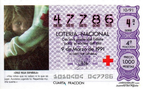 Décimo de Lotería Nacional de 1991 Sorteo 10 - «CRUZ ROJA ESPAÑOLA»