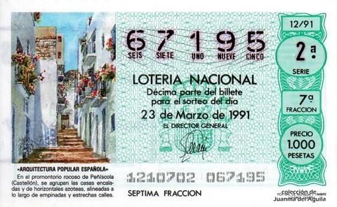 Décimo de Lotería Nacional de 1991 Sorteo 12 - «ARQUITECTURA POPULAR ESPAÑOLA» - CASAS ENCALADAS DE PEÑISCOLA (CASTELLON)