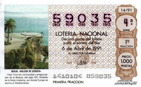 Décimo de Lotería Nacional de 1991 Sorteo 14 - NERJA «BALCON DE EUROPA»