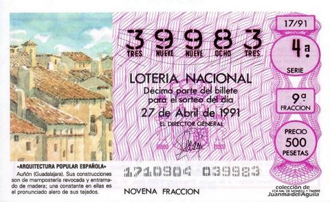 Décimo de Lotería Nacional de 1991 Sorteo 17 - «ARQUITECTURA POPULAR ESPAÑOLA» - AUÑON (GUADALAJARA)