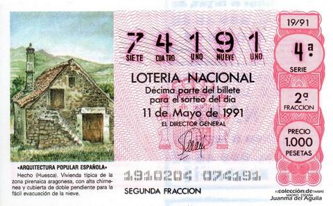Décimo de Lotería Nacional de 1991 Sorteo 19 - «ARQUITECTURA POPULAR ESPAÑOLA» - HECHO (HUESCA)