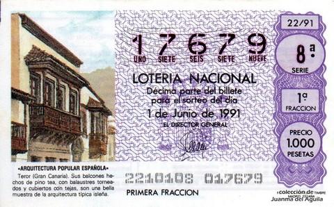 Décimo de Lotería Nacional de 1991 Sorteo 22 - «ARQUITECTURA POPULAR ESPAÑOLA» - TEROR (GRAN CANARIA)