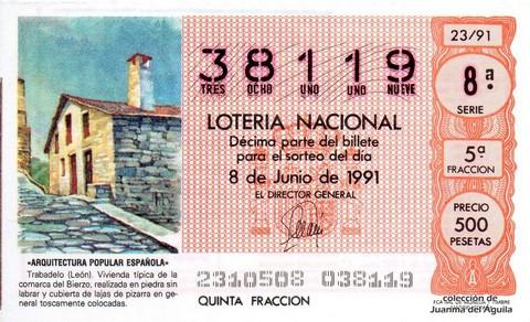 Décimo de Lotería Nacional de 1991 Sorteo 23 - «ARQUITECTURA POPULAR ESPAÑOLA» - TRABADELO (LEON)