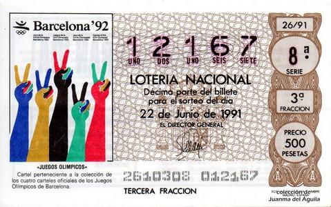Décimo de Lotería Nacional de 1991 Sorteo 26 - «JUEGOS OLIMPICOS»