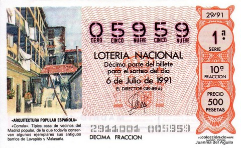 Décimo de Lotería Nacional de 1991 Sorteo 29 - «ARQUITECTURA POPULAR ESPAÑOLA» - «CORRALA»