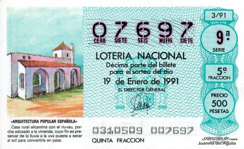 Décimo de Lotería Nacional de 1991 Sorteo 3 - «ARQUITECTURA POPULAR ESPAÑOLA» - CASA RURAL ALICANTINA