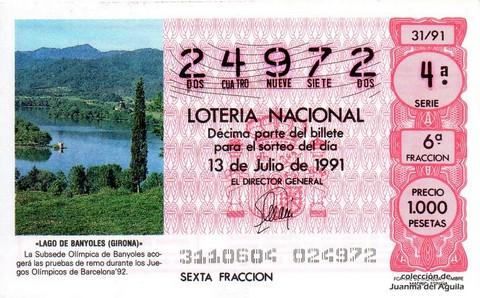Décimo de Lotería Nacional de 1991 Sorteo 31 - «LAGO DE BANYOLES (GIRONA)»