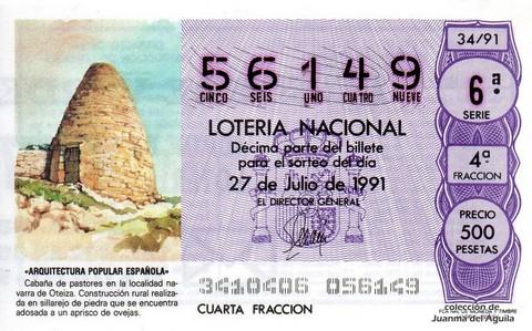 Décimo de Lotería Nacional de 1991 Sorteo 34 - «ARQUITECTURA POPULAR ESPAÑOLA» - CABAÑA DE PASTORES EN LA LOCALIDAD NAVARRA DE OTEIZA