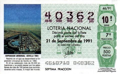 Décimo de Lotería Nacional de 1991 Sorteo 46 - EXPOSICION UNIVERSAL «SEVILLA 1992»