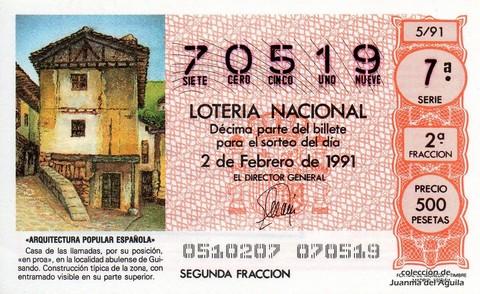 Décimo de Lotería Nacional de 1991 Sorteo 5 - «ARQUITECTURA POPULAR ESPAÑOLA» - CASA DE LA LOCALIDAD ABULENSE DE GUISANDO
