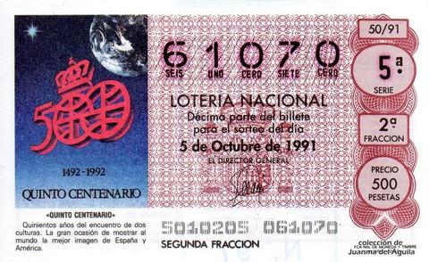 Décimo de Lotería Nacional de 1991 Sorteo 50 - «QUINTO CENTENARIO»