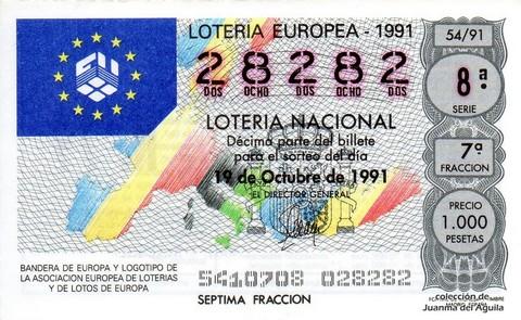 Décimo de Lotería Nacional de 1991 Sorteo 54 - BANDERAS DE EUROPA Y LOGOTIPO DE LA ASOCIACION EUROPEA DE LOTERIAS Y LOTOS DE EUROPA