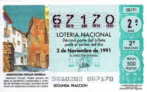 Décimo de Lotería Nacional de 1991 Sorteo 58 - «ARQUITECTURA POPULAR ESPAÑOLA» - ALBARRACIN (TERUEL)