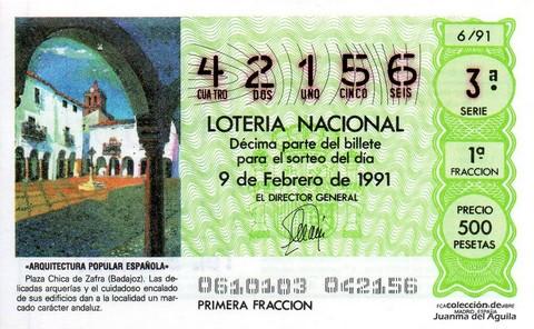 Décimo de Lotería Nacional de 1991 Sorteo 6 - «ARQUITECTURA POPULAR ESPAÑOLA» - PLAZA CHICA DE ZAFRA (BADAJOZ)
