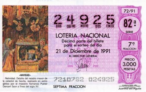 Décimo de Lotería Nacional de 1991 Sorteo 72 - «NAVIDAD»