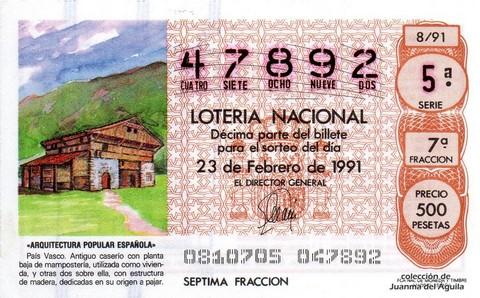 Décimo de Lotería Nacional de 1991 Sorteo 8 - «ARQUITECTURA POPULAR ESPAÑOLA» - PAIS VASCO. ANTIGUO CASERIO
