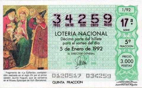 Décimo de Lotería 1992 / 1